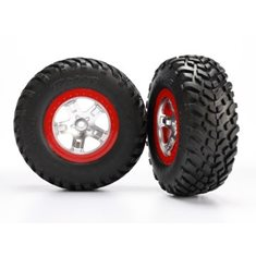 Traxxas 5873R Tires & Wheels SCT S1/SCT Satin Chrome-Red 4WD/2WD Rear (2)