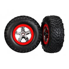 Traxxas 5887 Tires & Wheels SCT/SCT Chrome-Red 4WD/2WD Rear TSM (2)