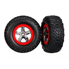 Traxxas 5887R Tires & Wheels SCT S1/SCT Chrome-Red 4WD/2WD Rear TSM (2)