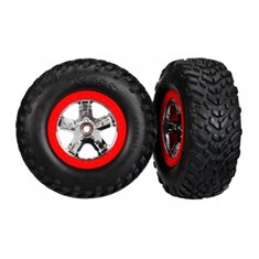 Traxxas 5888 Tires & Wheels SCT/SCT Chrome-Red 2WD Front (2)
